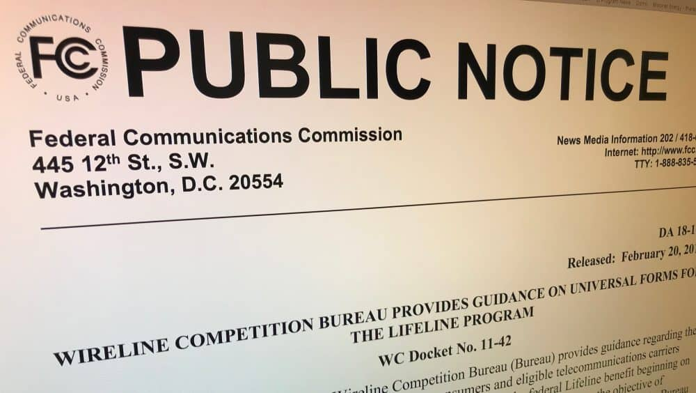 FCC Releases Public Notice on Universal Lifeline Forms